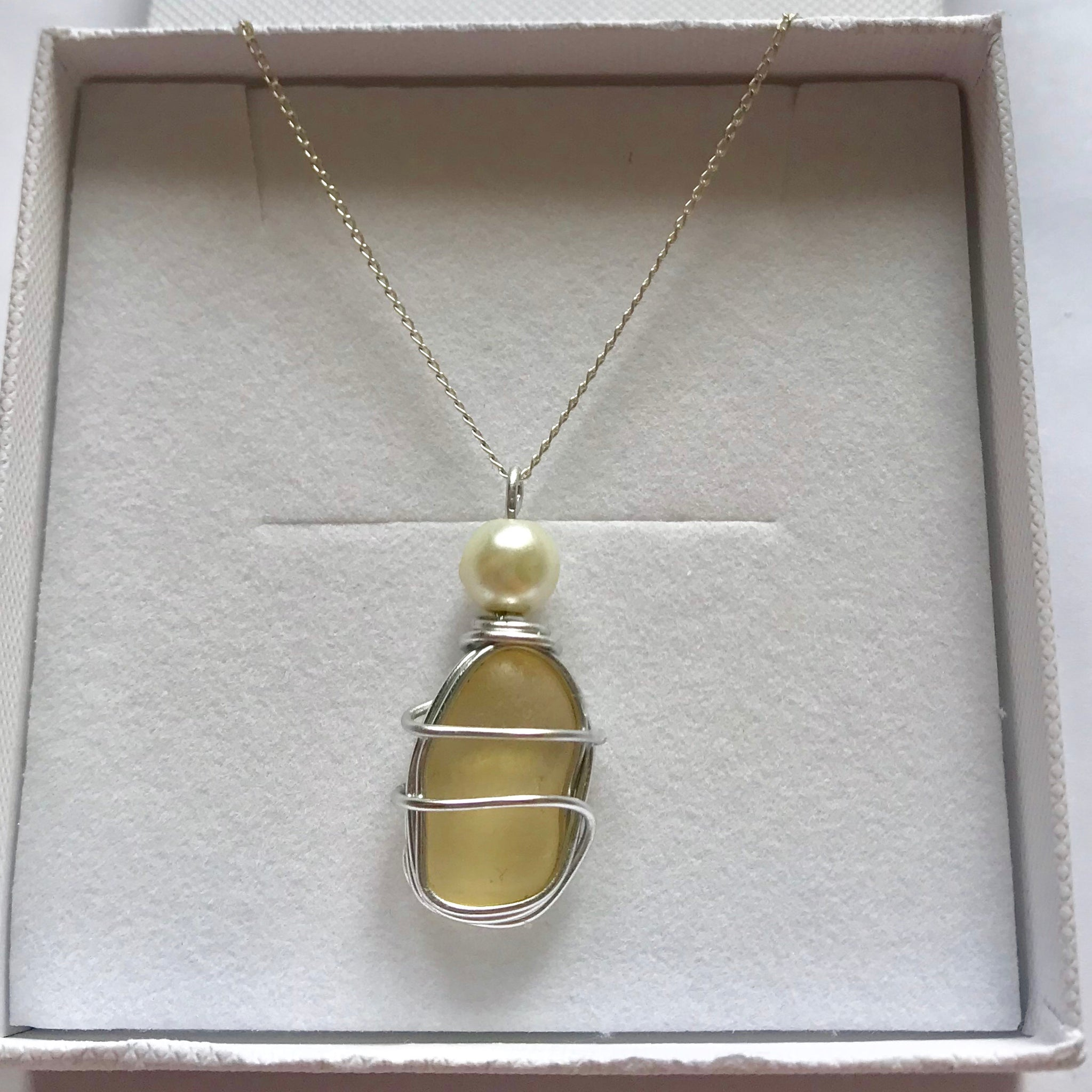 "Pale Yellow Seaham Sea Glass Pendant On a 20"" Sterling Silver Chain"