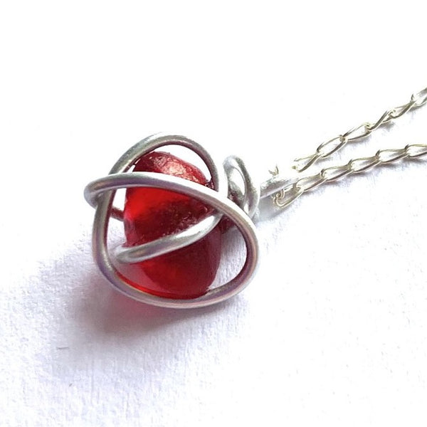 Rare Red Seaham Sea Glass Heart Pendant