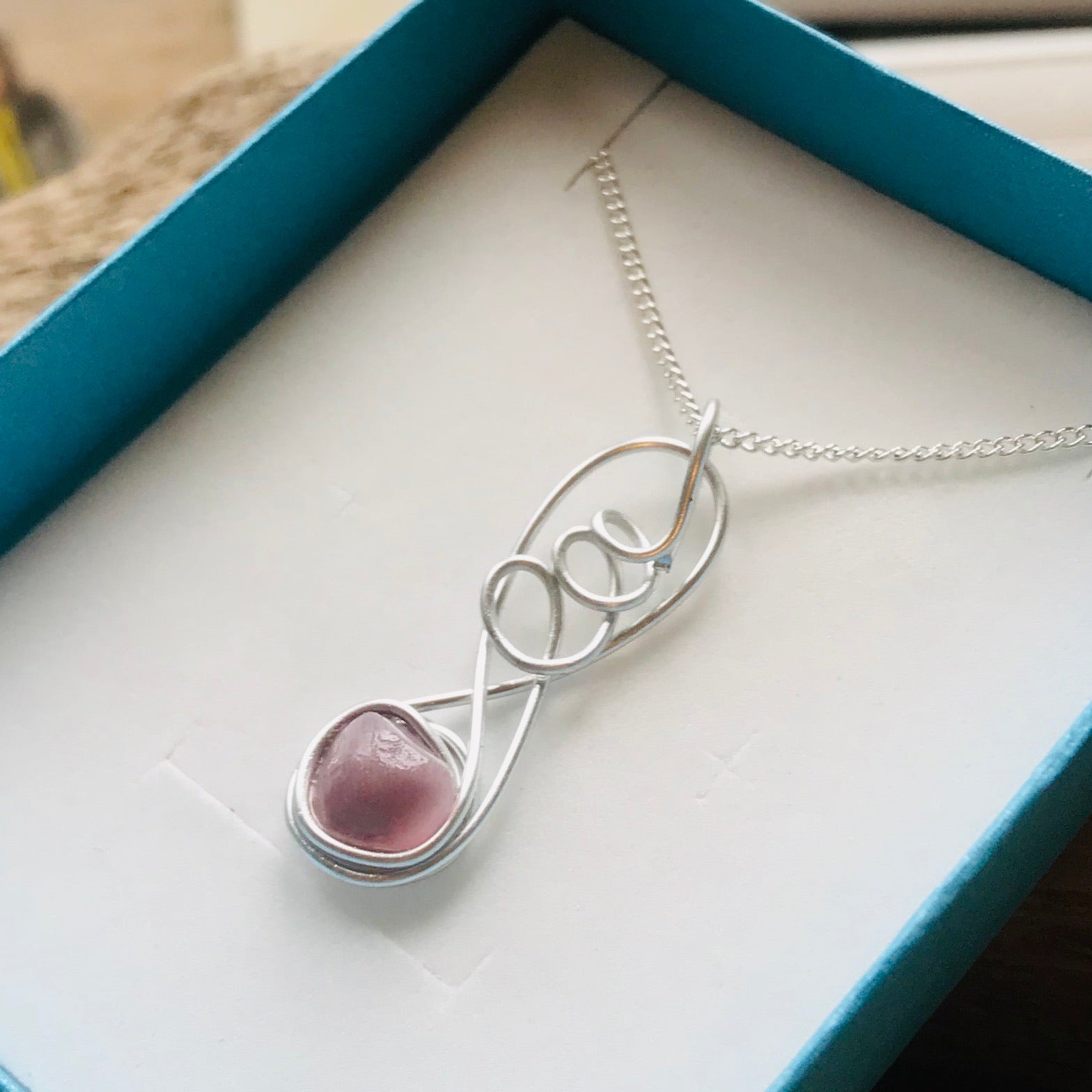 Lilac Pink Sea Glass Pendant