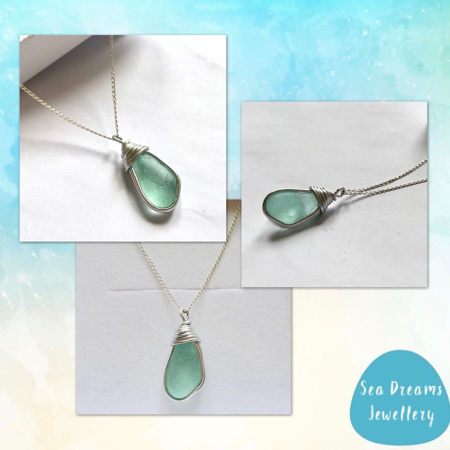 "Aqua Seaham Sea Glass Pendant On a 20"" Sterling Silver Chain"