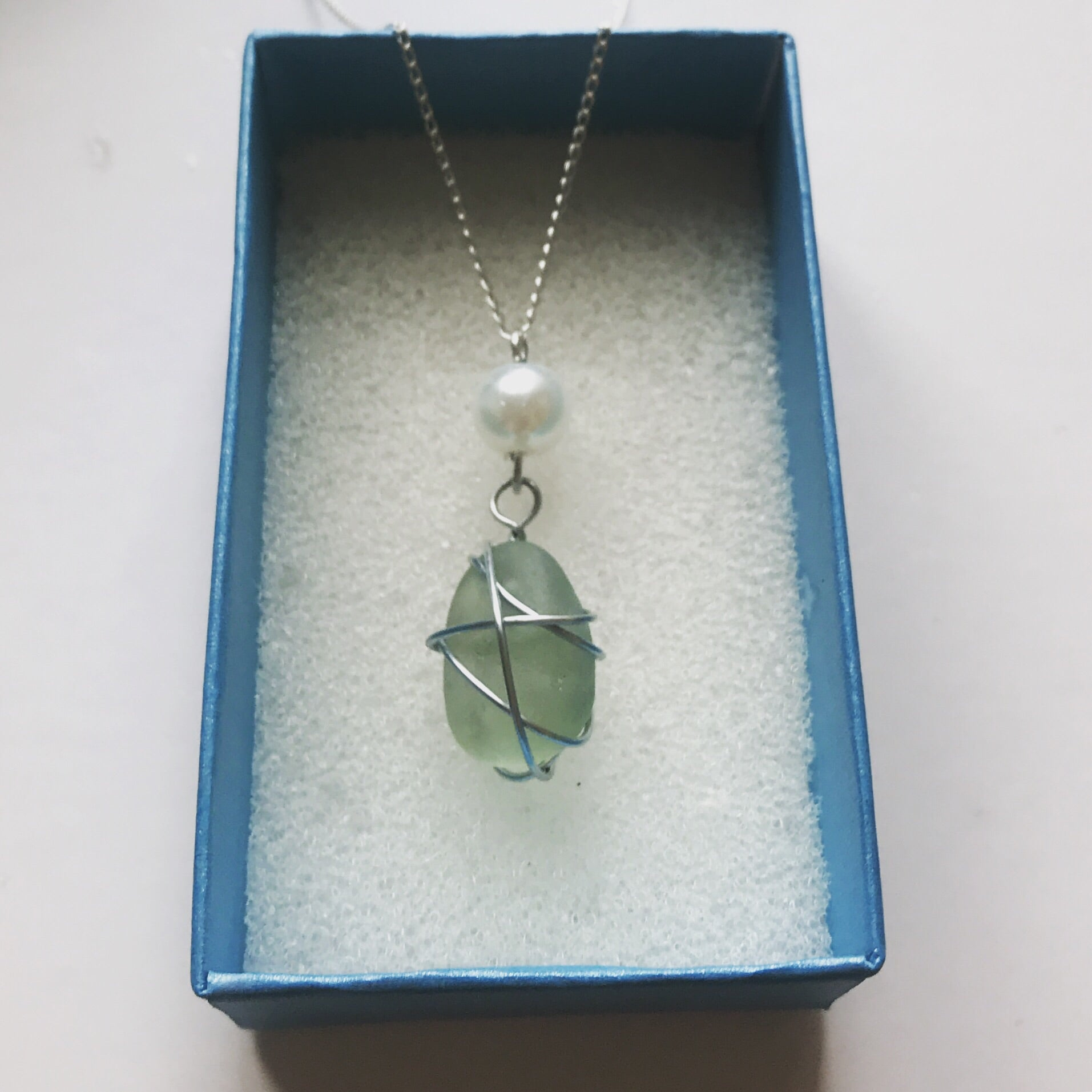 "Pale Green Sea Glass Pendant - On 20"" Sterling Silver Chain"