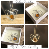 Rare Seaham Sea Glass Orange Heart Pendant