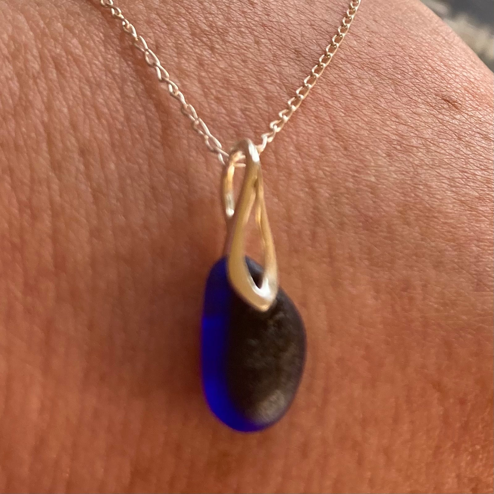 Deep Electric Blue Seaham Sea Glass Multi on Sterling Silver