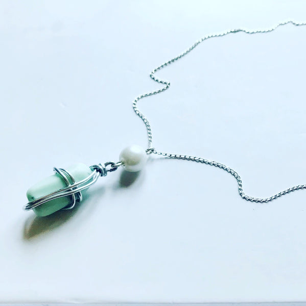 "Seaham Sea Glass - Pale Blue Milk Glass - Pendant on 20"" Sterling Silver Chain"