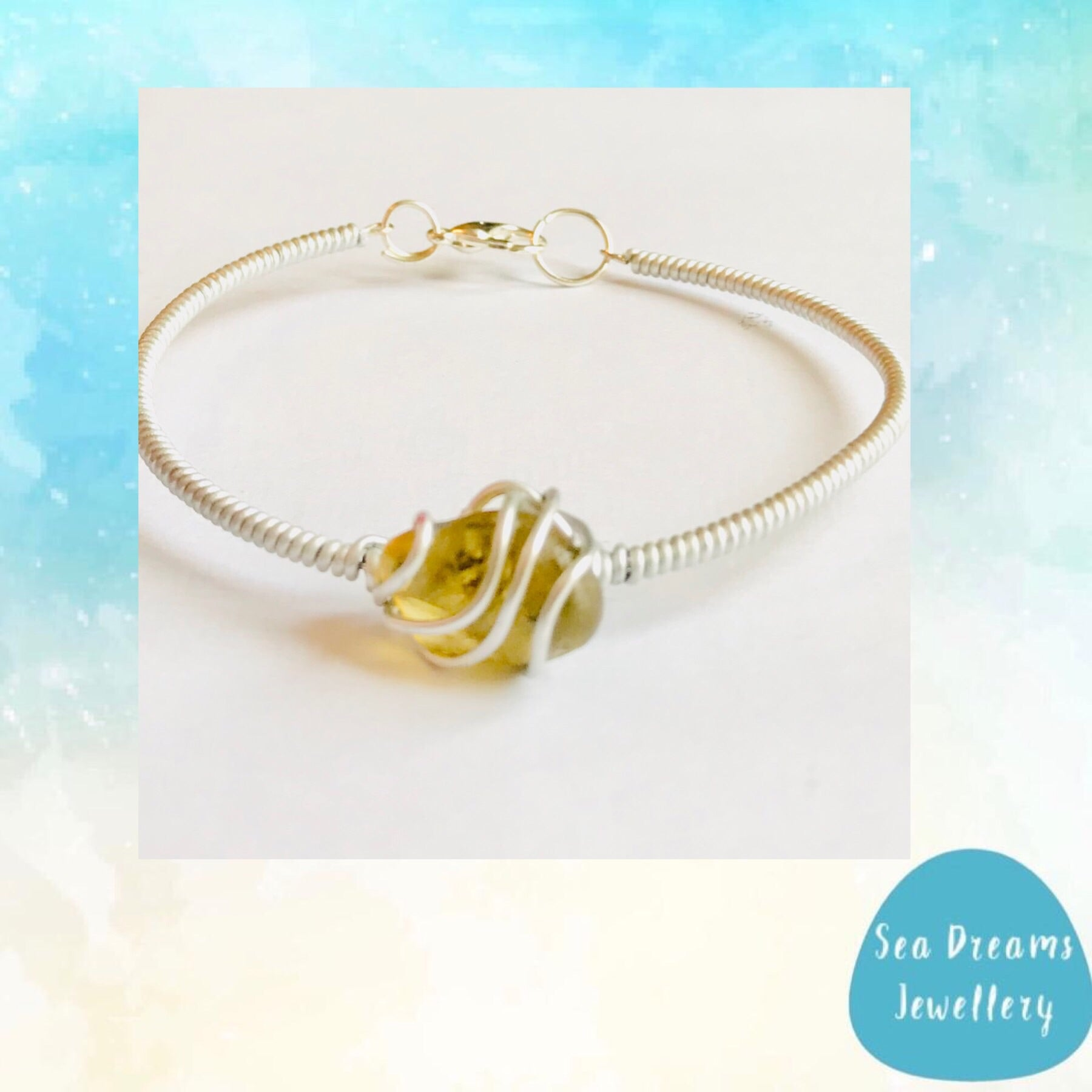 Yellow Seaham Sea Glass Wire Wrap Bangle