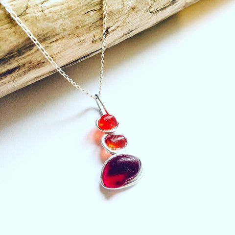 Rare Red and Orange Seaham Sea Glass Pendant
