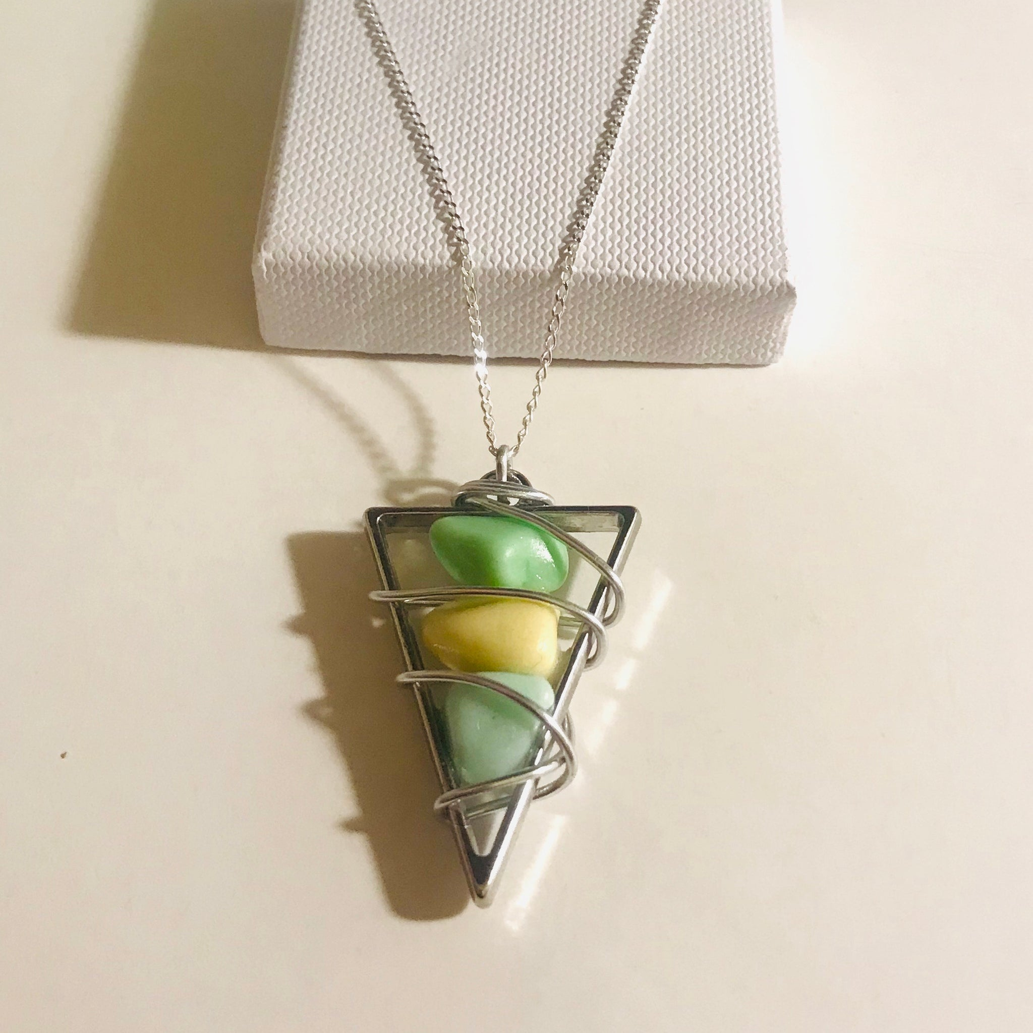 "Seaham Milk Glass Bead Frame Pendant on a 20"" Sterling silver Chain"