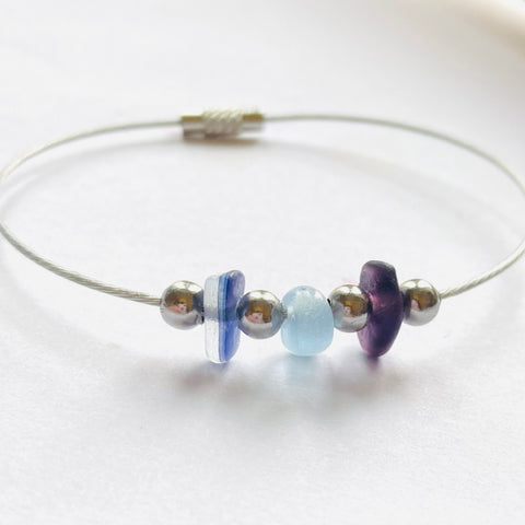 Purple Seaham Sea Glass Bangle