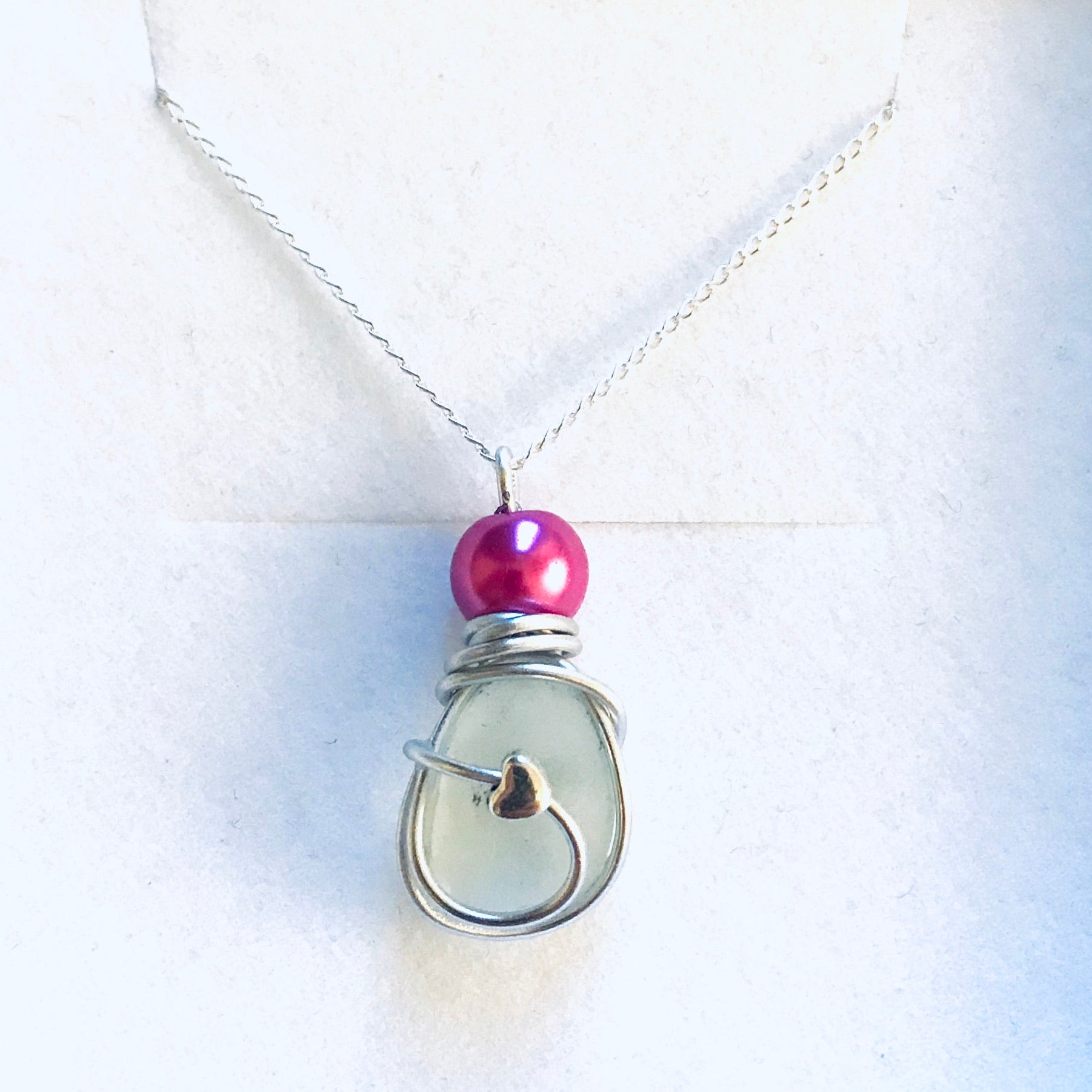 "Pink Mini Heart Seaham Sea Glass Pendant on a 20"" Sterling Silver Chain"