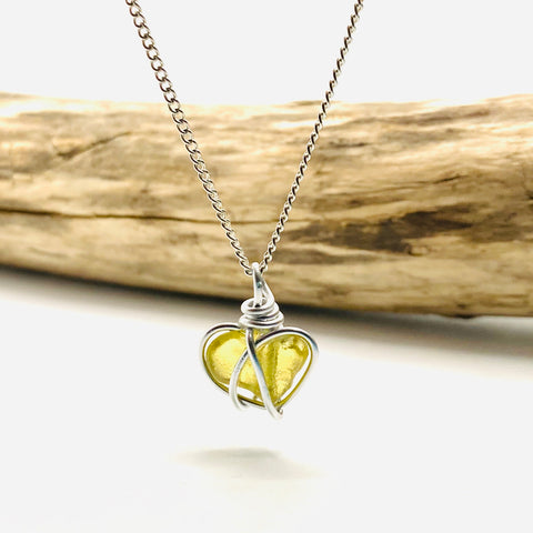 Yellow Pembrokeshire Sea Glass Heart Pendant