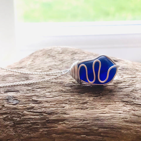 Dark Blue Seaham Sea Glass Waves Pendant