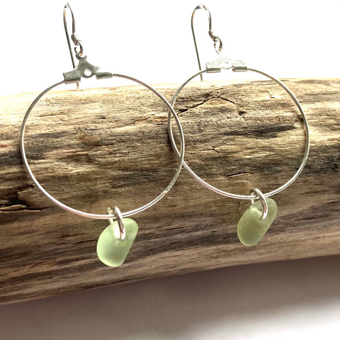 Green Seaham Sea Glass Hoop Earrings