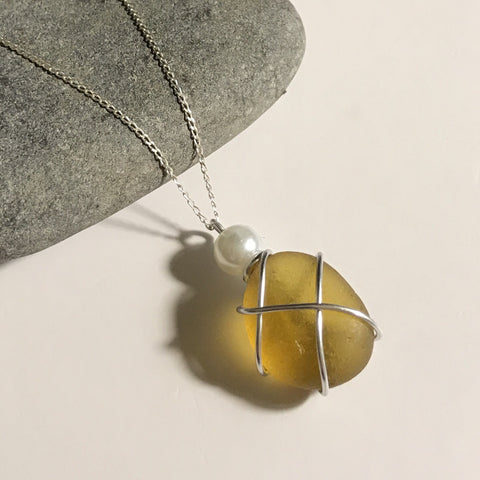 "Yellow Seaham Sea Glass on 20"" Sterling Silver Chain"