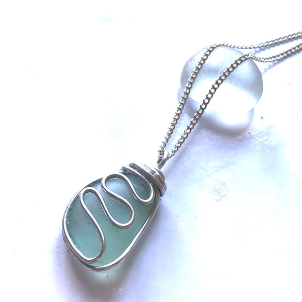 "Aqua Waves Seaham Sea Glass Pendant On 20"" Sterling Silver Chain"