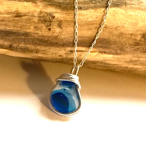 Blue Seaham Sea Glass Multi Pendant