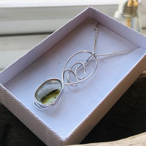 Lime Green Seaham Sea Glass Stripe Pendant