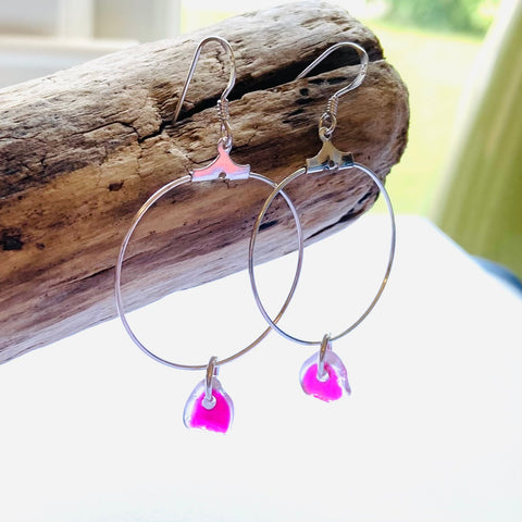 Pink Seaham Sea Glass Hoop Earrings