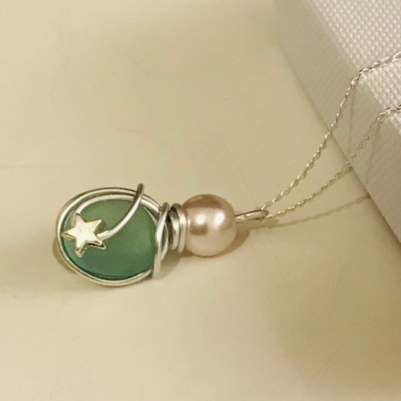 Green Seaham Sea Glass Mini Star Pendant