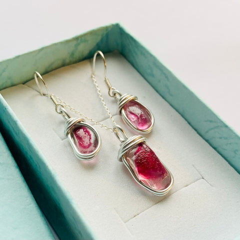 Pink Seaham Sea Glass Jewellery Set