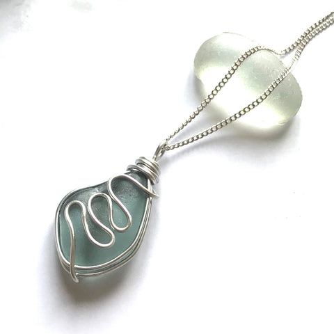Dusky Blue Grey Waves Seaham Sea Glass Pendant
