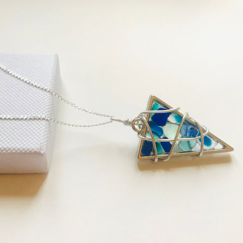 "Stunning Blues Seaham Sea Glass Pendant on a 20"" Sterling Silver chain"