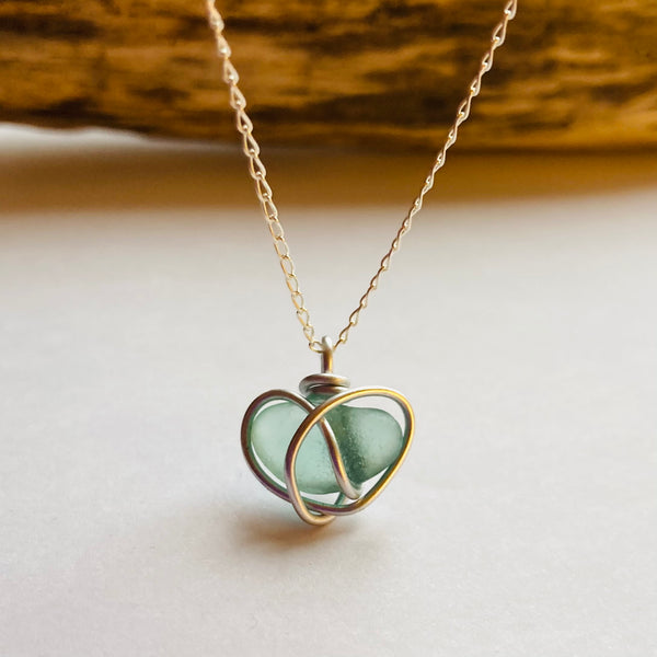 Aqua Seaham Sea Glass Heart Pendant