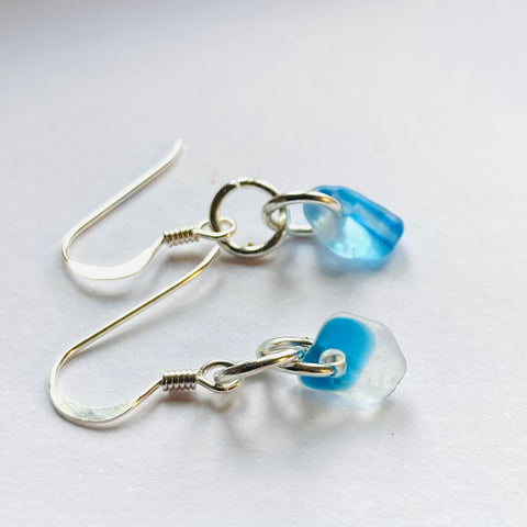Bright Blue Seaham Sea Glass Earrings