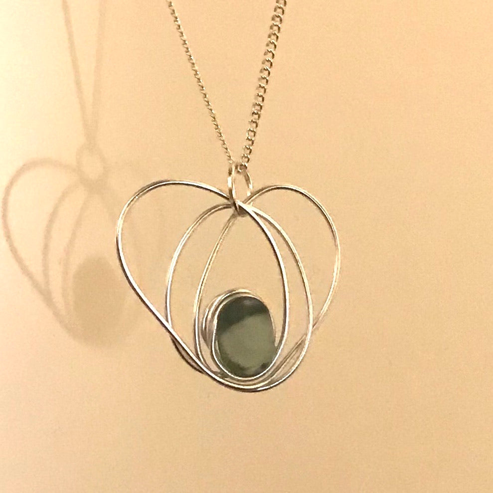 "Dusky Blue Seaham Sea Glass Heart Pendant on a 20"" Sterling Silver Chain"