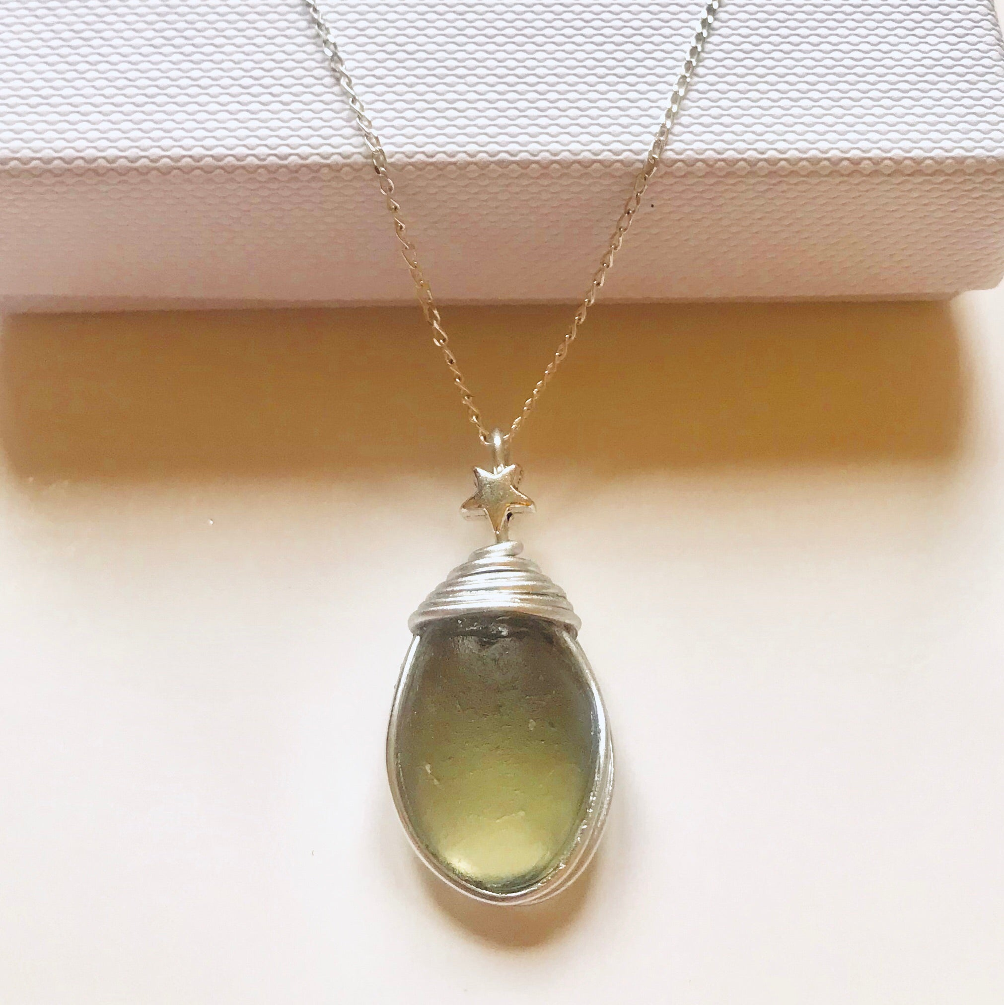 "Pale Dusky Green Seaham Sea Glass Pendant On a 20"" Sterling Silver Chain"