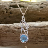 Mid Blue Seaham Milk Sea Glass Pendant