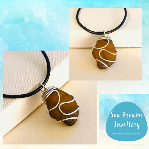 Men's Seaham Sea Glass On a Black Leather Thong Necklace