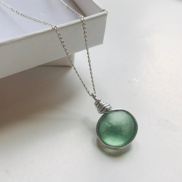 "Aqua Round Seaham Sea Glass On a 20"" Sterling Silver Chain"