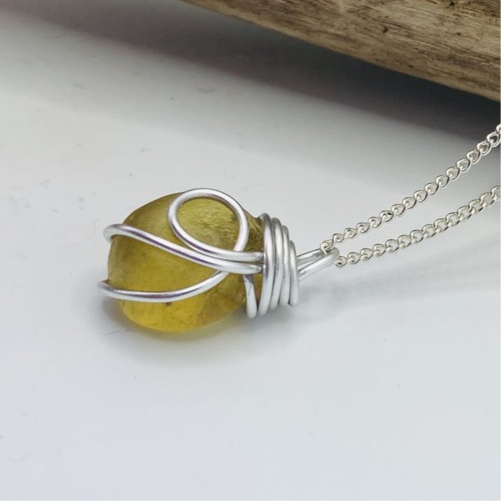 Chunky Yellow Seaham Sea Glass Pendant