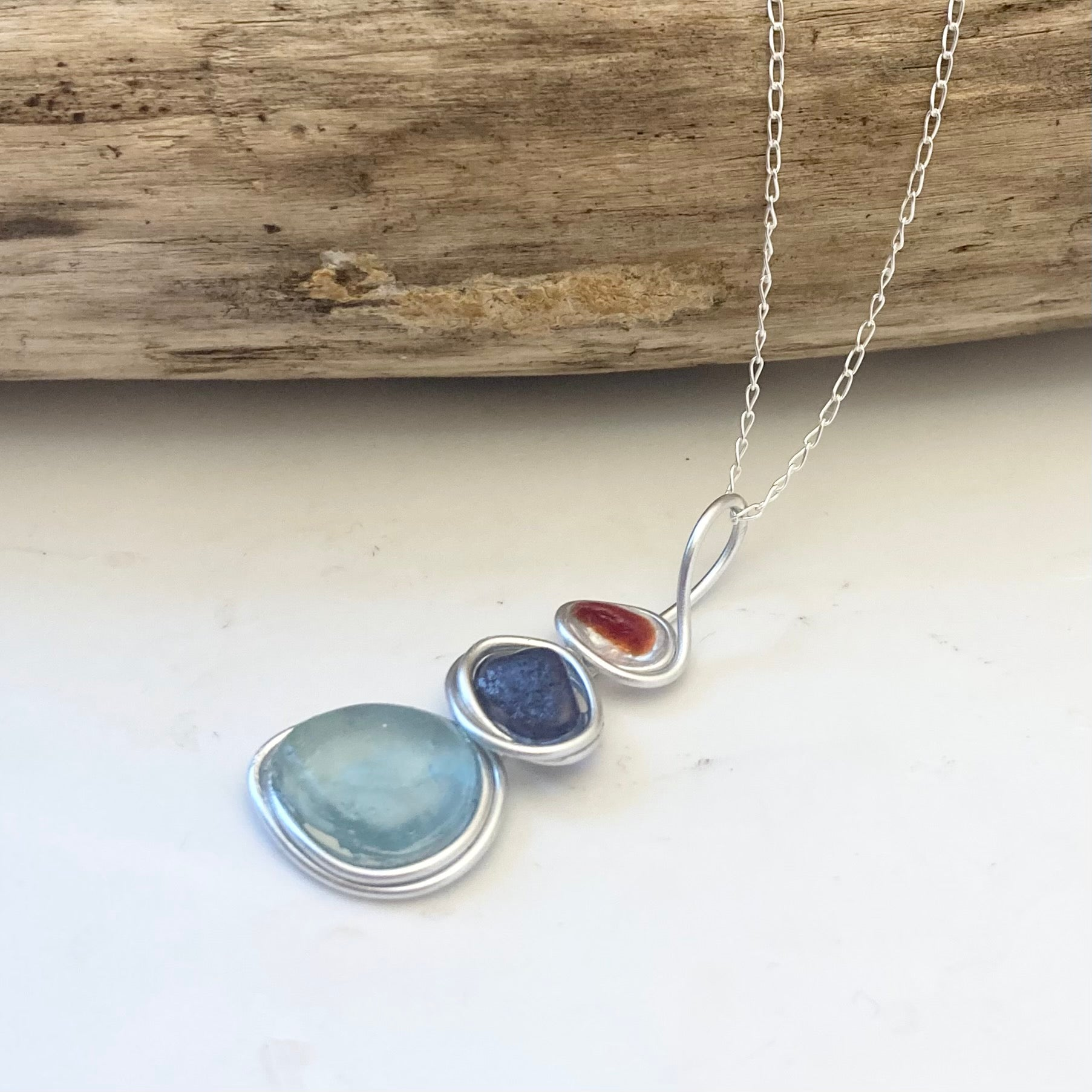 Three Piece Seaham Sea Glass Pendant