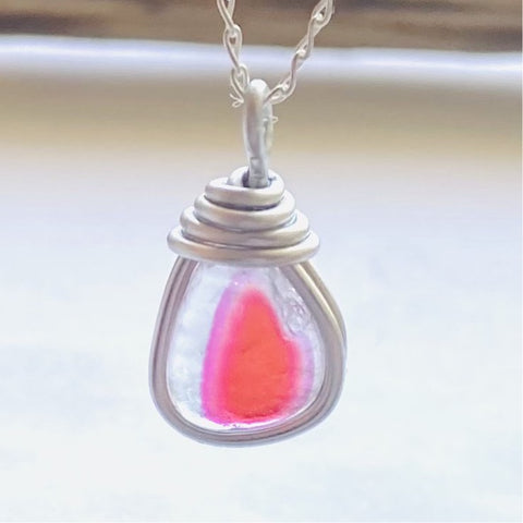 Rare Pink and Orange Seaham Sea Glass Multicolour Pendant