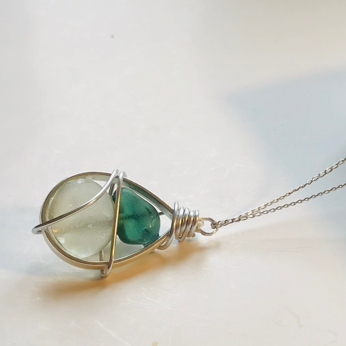 "Bead Frame Seaham Sea Glass Pendant on a 20"" Sterling silver chain"