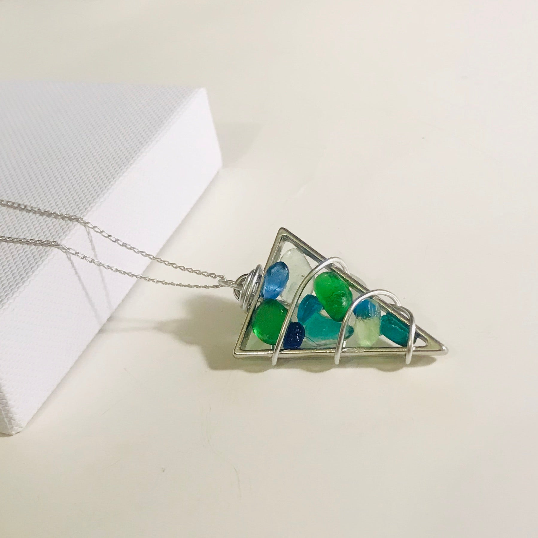 "Bead Frame Green and Blue Seaham Sea Glass Pendant on a 20"" Sterling silver chain"