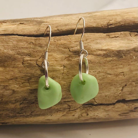 Mint Green Seaham Milky Sea Glass Earrings