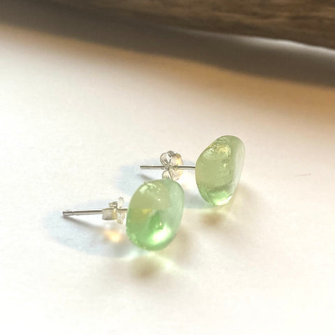 Pale Green Seaham Sea Glass Multi Stud Earrings