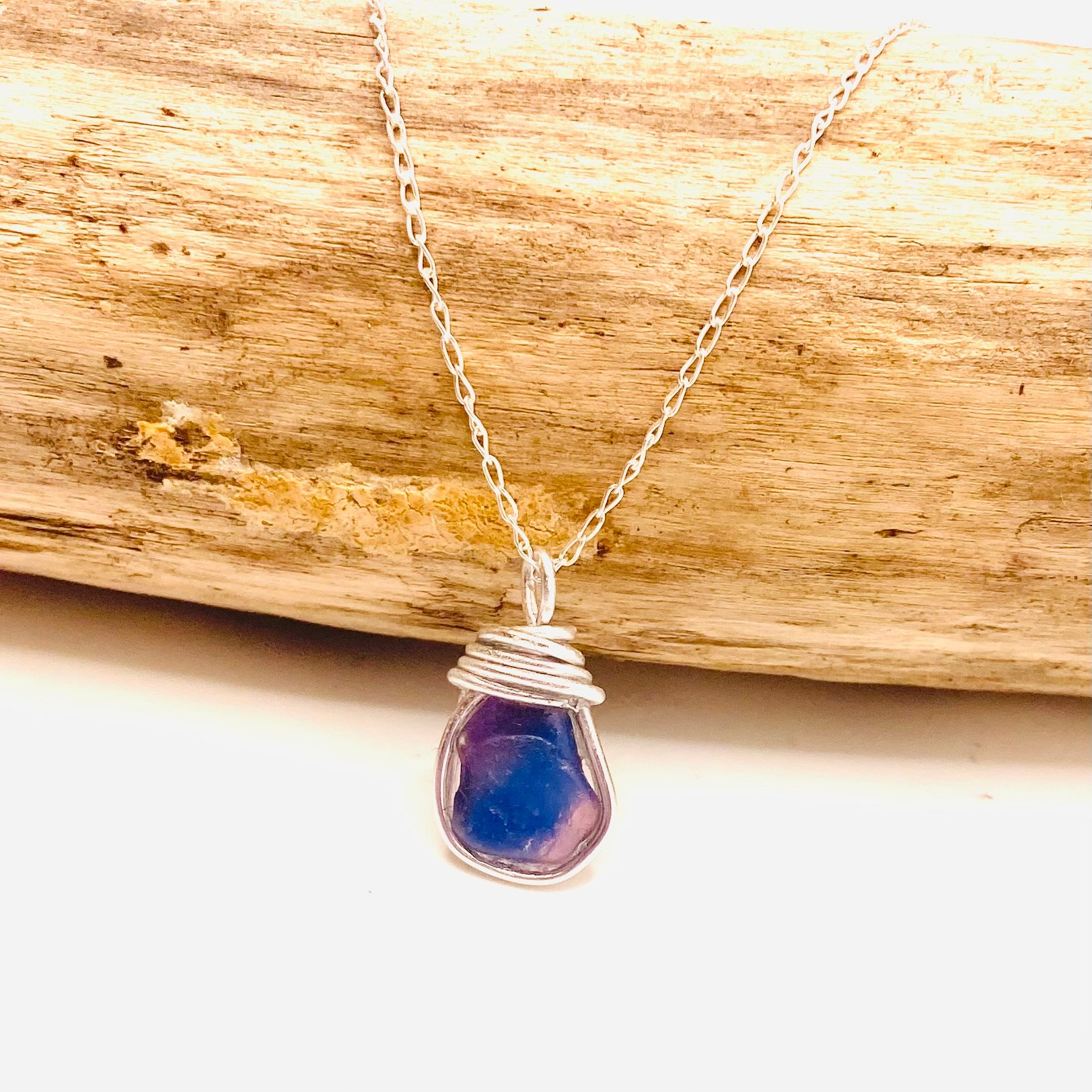 Pink and Blue Seaham Sea Glass Multicolour Pendant
