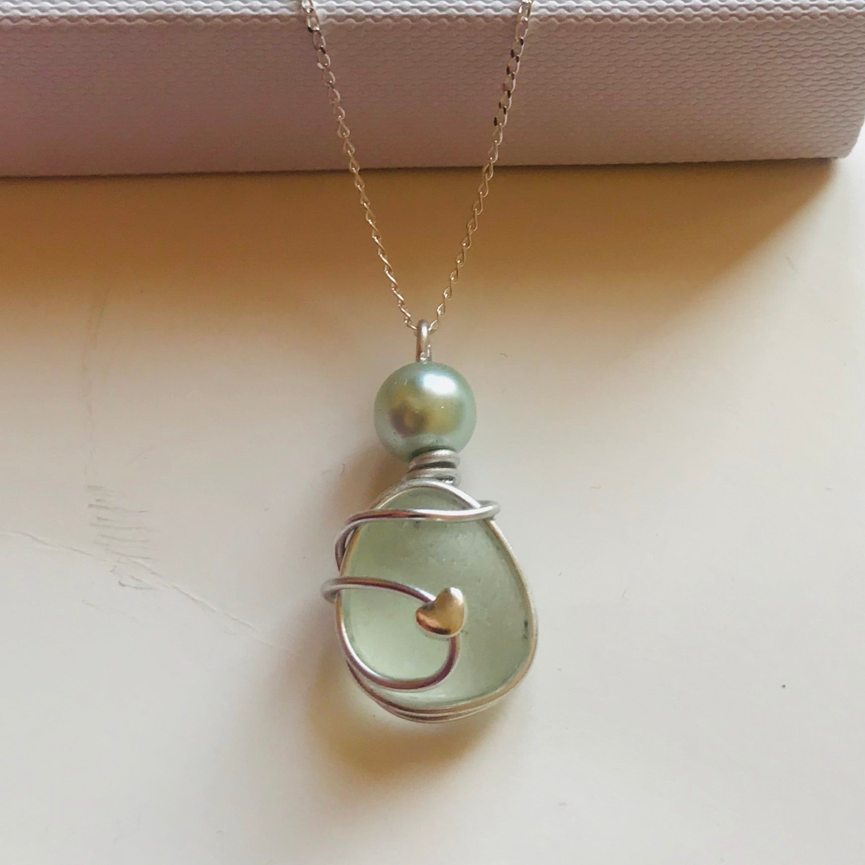 "Pale Aqua Pendant on a 20"" Sterling silver chain"