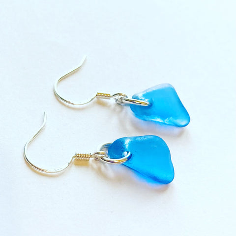 Mid Blue Kent Sea Glass Sterling Silver Earrings