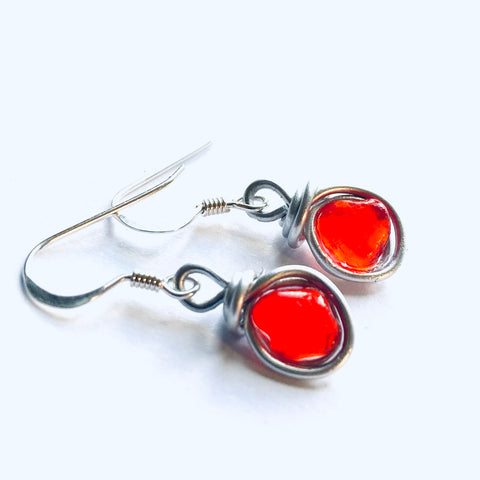 Very Rare Orange Seaham Sea Glass Earrings