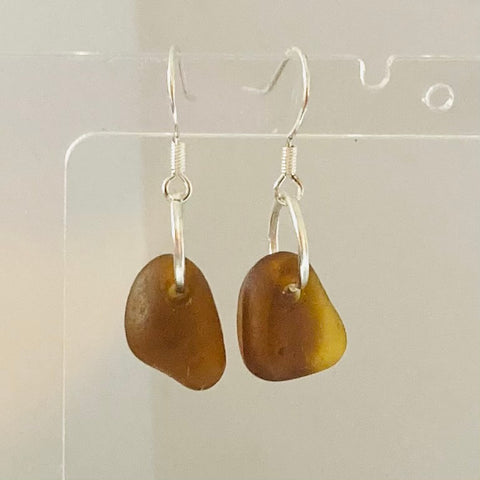 Chunky Amber Seaham Sea Glass  Earrings