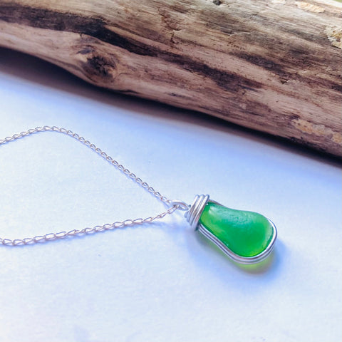 Gorgeous Neon UV Seaham Sea Glass Pendant