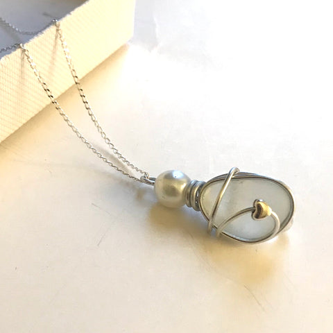 "White Seaham Sea Glass Mini Heart Pendant on a 20"" Sterling silver chain"