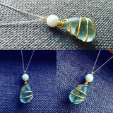 "Aqua Seaham Sea Glass Pendant On 20"" Sterling Silver Chain"