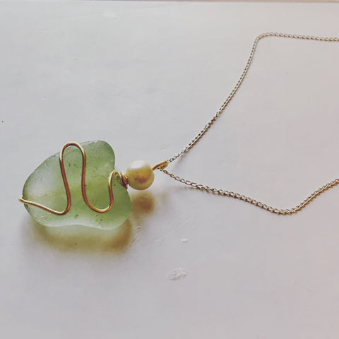 "Seaham Sea Glass Heart - Set onto a 20"" Sterling Silver Chain"