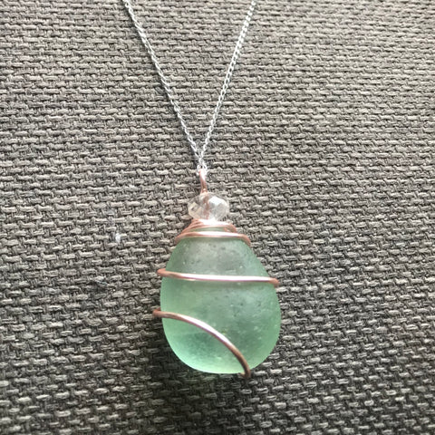 "Green Seaham Sea Glass Pendant On 20"" Sterling Silver Chain"
