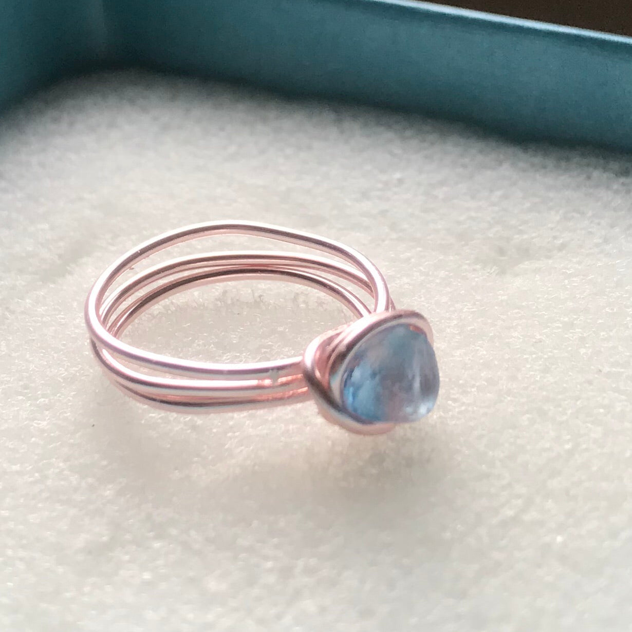 Gorgeous Blue Sea Glass On Rose Gold Coloured Wire - Size L